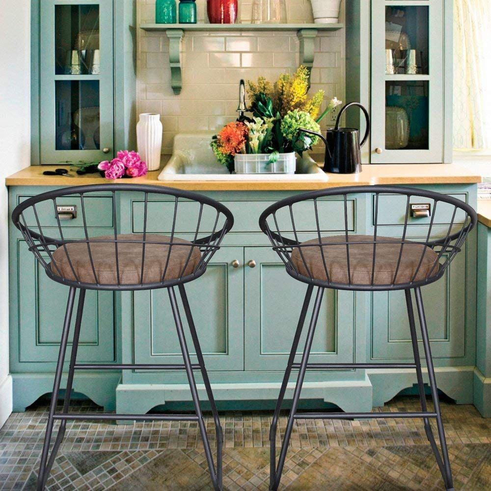 Farmhouse bar stools with back. LCH 24 Inch Vintage Fabric