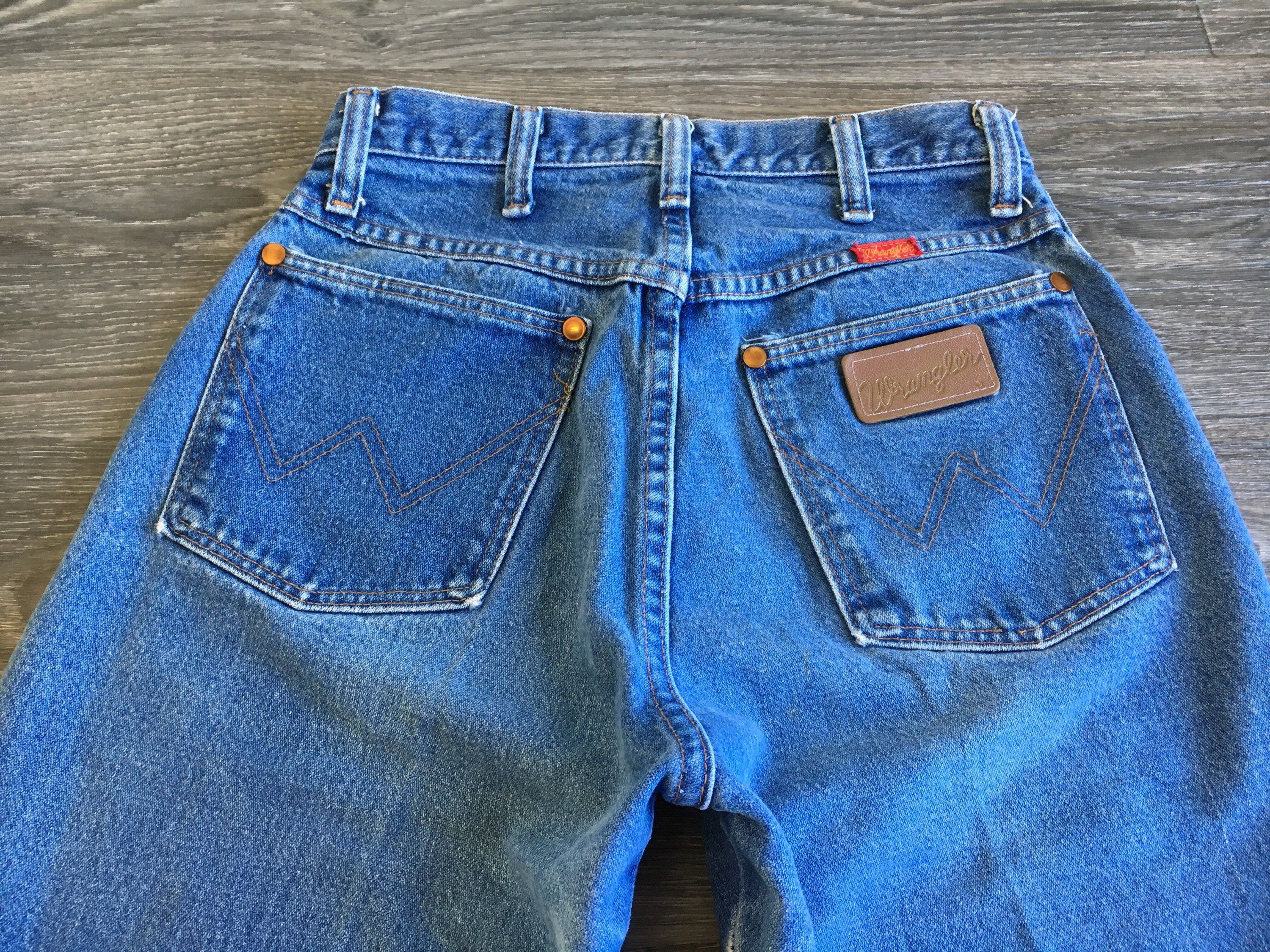 50648e1c5 Wrangler DENIM Jeans High Waist 80s 90s Vintage Blue Cowgirl Country USA  Made Wedgie Fit High