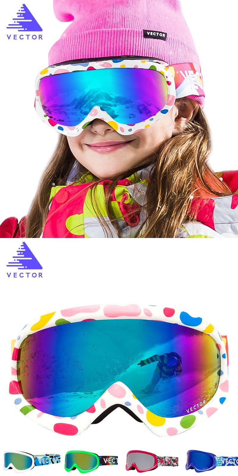 fc11a79edacc VECTOR Brand Kids Ski Goggles Double Lens UV400 Anti-fog Ski Snow Children  Skiing Glasses