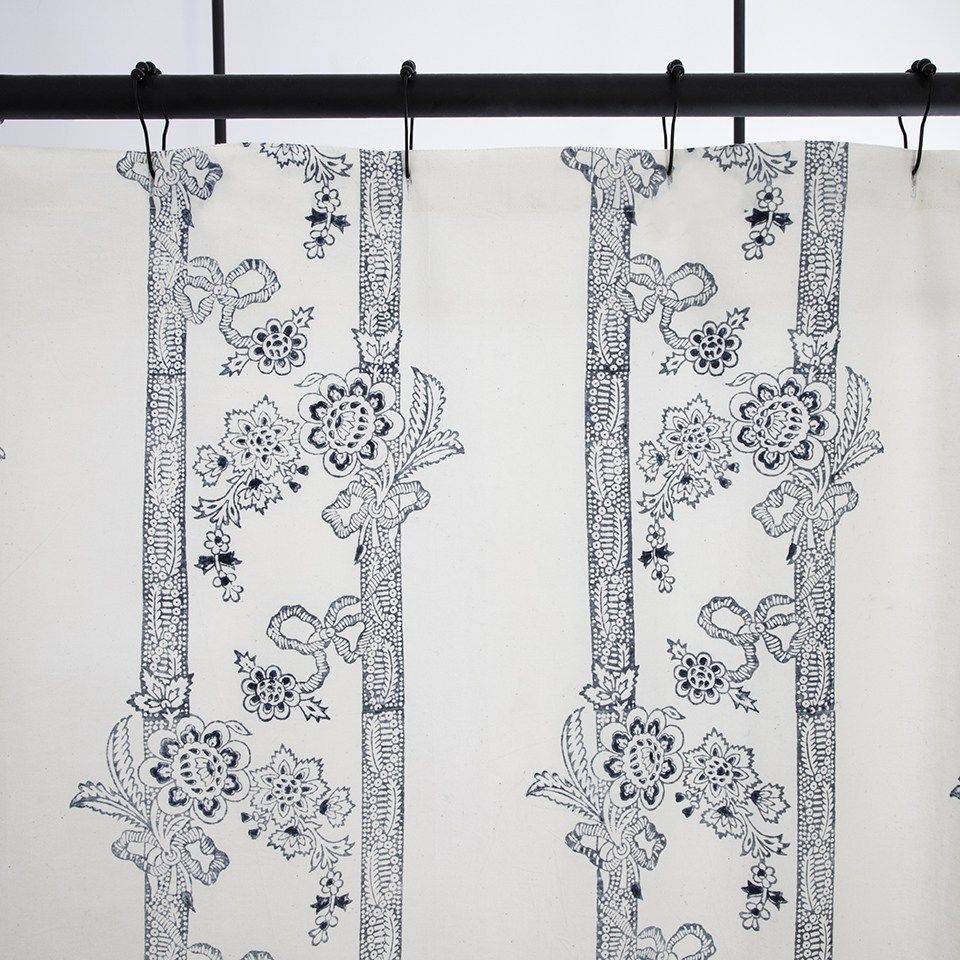 French Stripe Shower Curtain In Indigo Striped Shower Curtains Curtains French Stripes