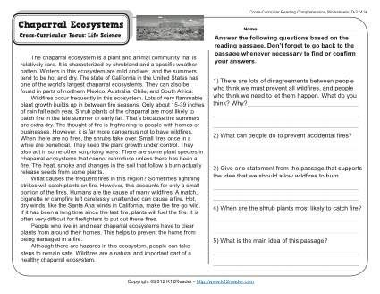 Chaparral Ecosystems | Other, Comprehension and Common core standards
