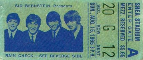 Ticket for the Beatles' Shea Stadium concert (August 15, 1965)