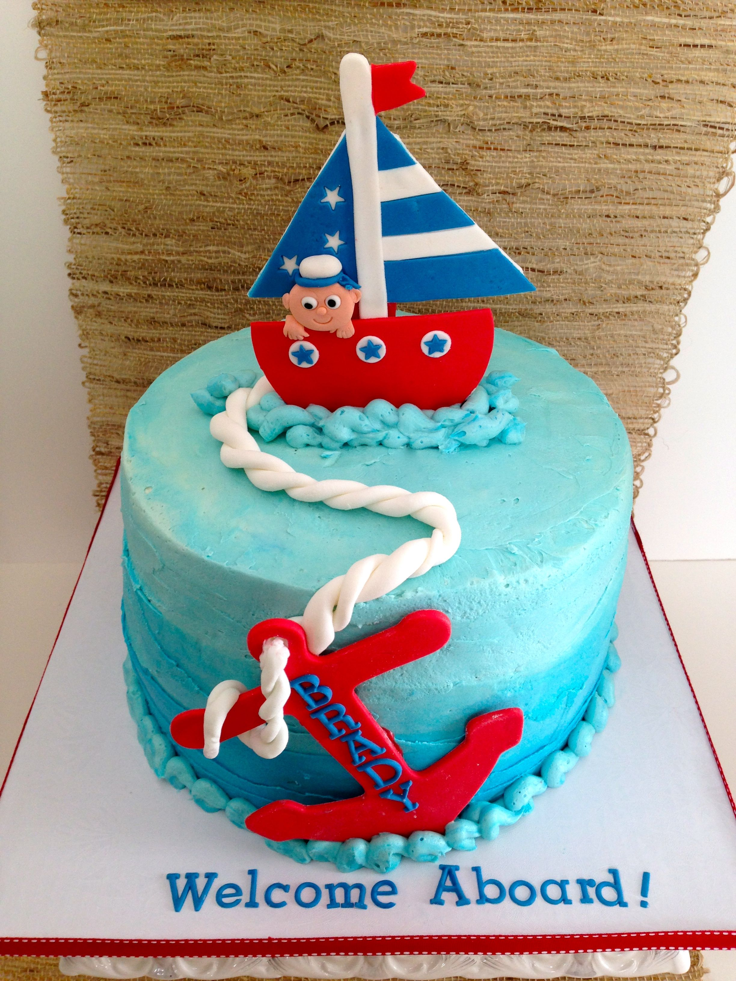 Cakes by Kirsten Shades of blue buttercream and nautical theme