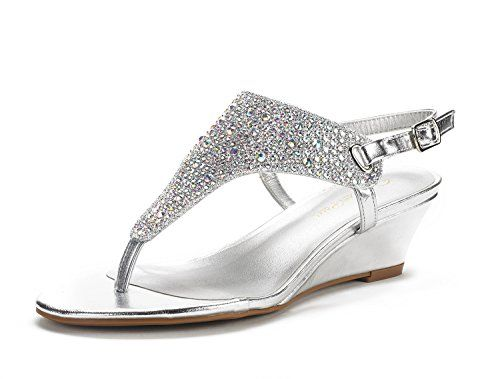 30f6f7770c Add a fancy sparkle to your wordrobe with this gorgeous wedge sandal!  Featuring thong construction with rhinestone embelishment, padded cushion  insole, ...