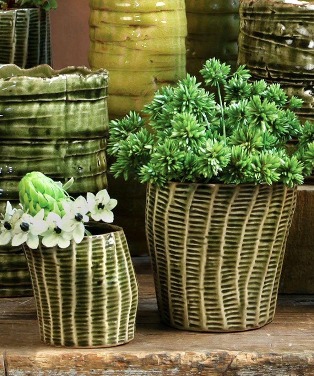 Nairobi Ceramic Cachepot Dark Green Crackle Planters