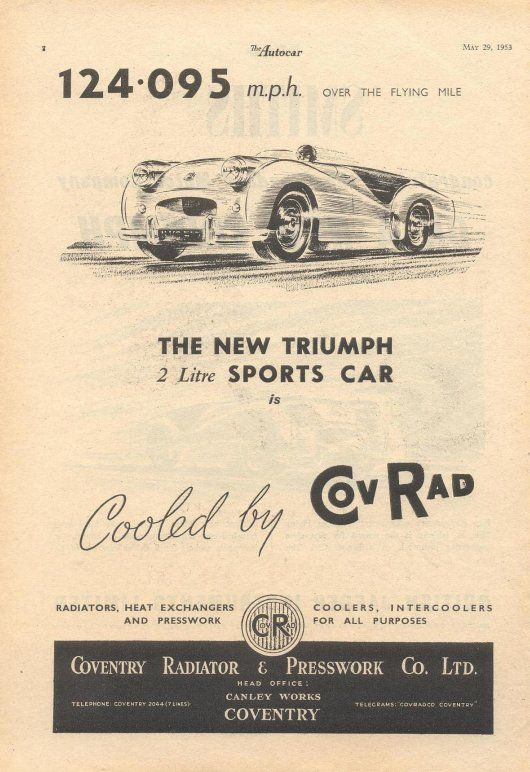 Triumph Tr2 Speed Record Advertisement