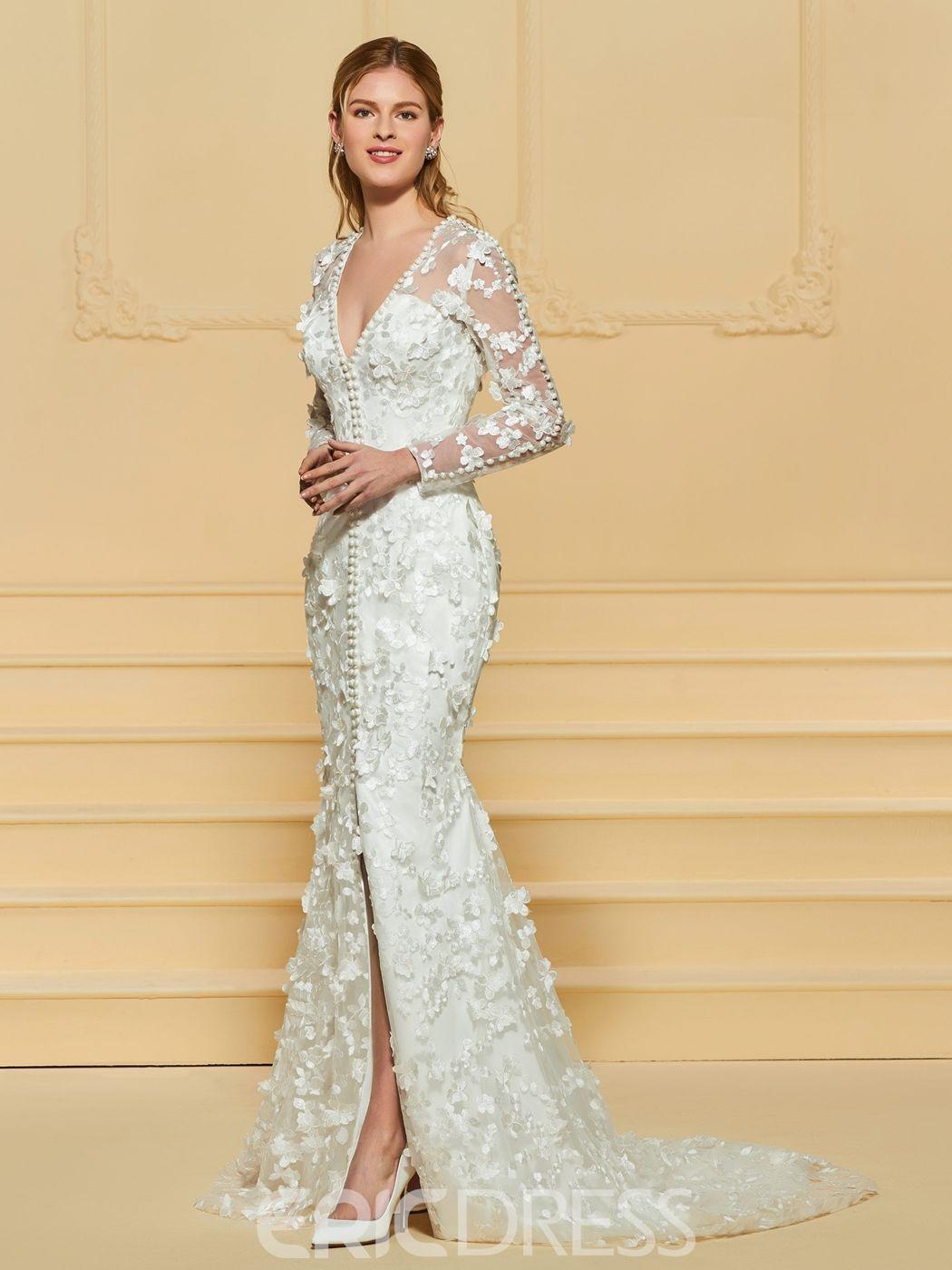 a856e77bdd8 Ericdress V Neck Mermaid Lace Wedding Dress