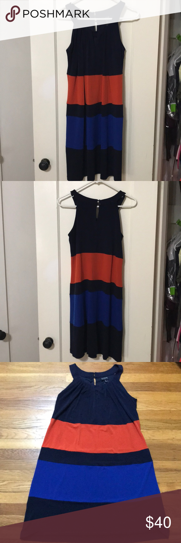Enfocus Studio Summer Dress Navy, Blue, and Orange Color Blocked. 95% Polyester. 5% Spandex Enfocus Studios Dresses