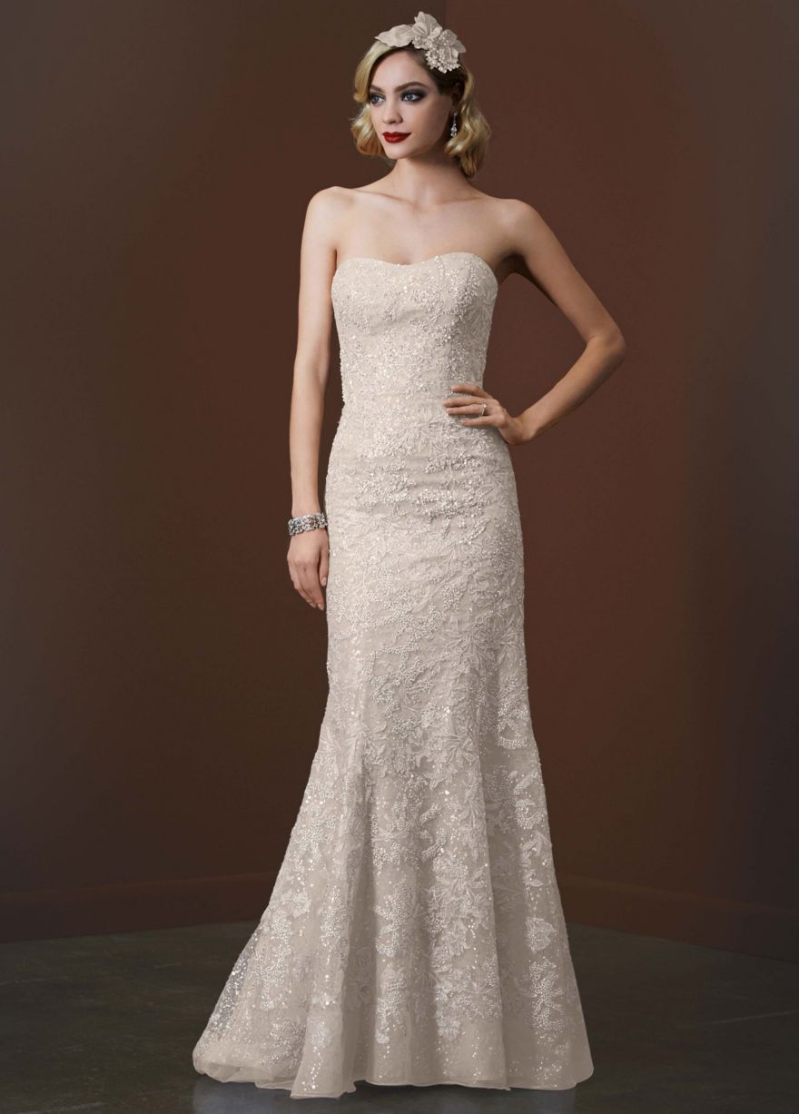 Gold sparkle wedding dress  Strapless Trumpet Sequin Gown with Gold Lace  Davidus Bridal