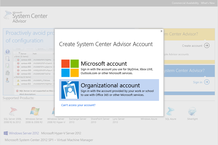 System Center Advisor now supports Windows Azure Active Directory (formerly OrgID) - http://askmeboy.com/wp-content/uploads/2014/09/System-Center-Advisor-now-supports-Windows-Azure-Active-Directory-formerly-OrgID.png https://askmeboy.com/system-center-advisor-now-supports-windows-azure-active-directory-formerly-orgid/