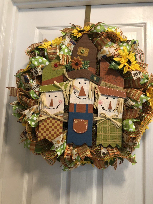 Scarecrow Fall Wreath,Three Scarecrow Wreath, Fall Scarecrow Wreath,wreathsbycarol2016