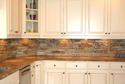 Rustic Backsplash Natural Stone With Wall Lamp And White Cabinet Ideas For Kitchen