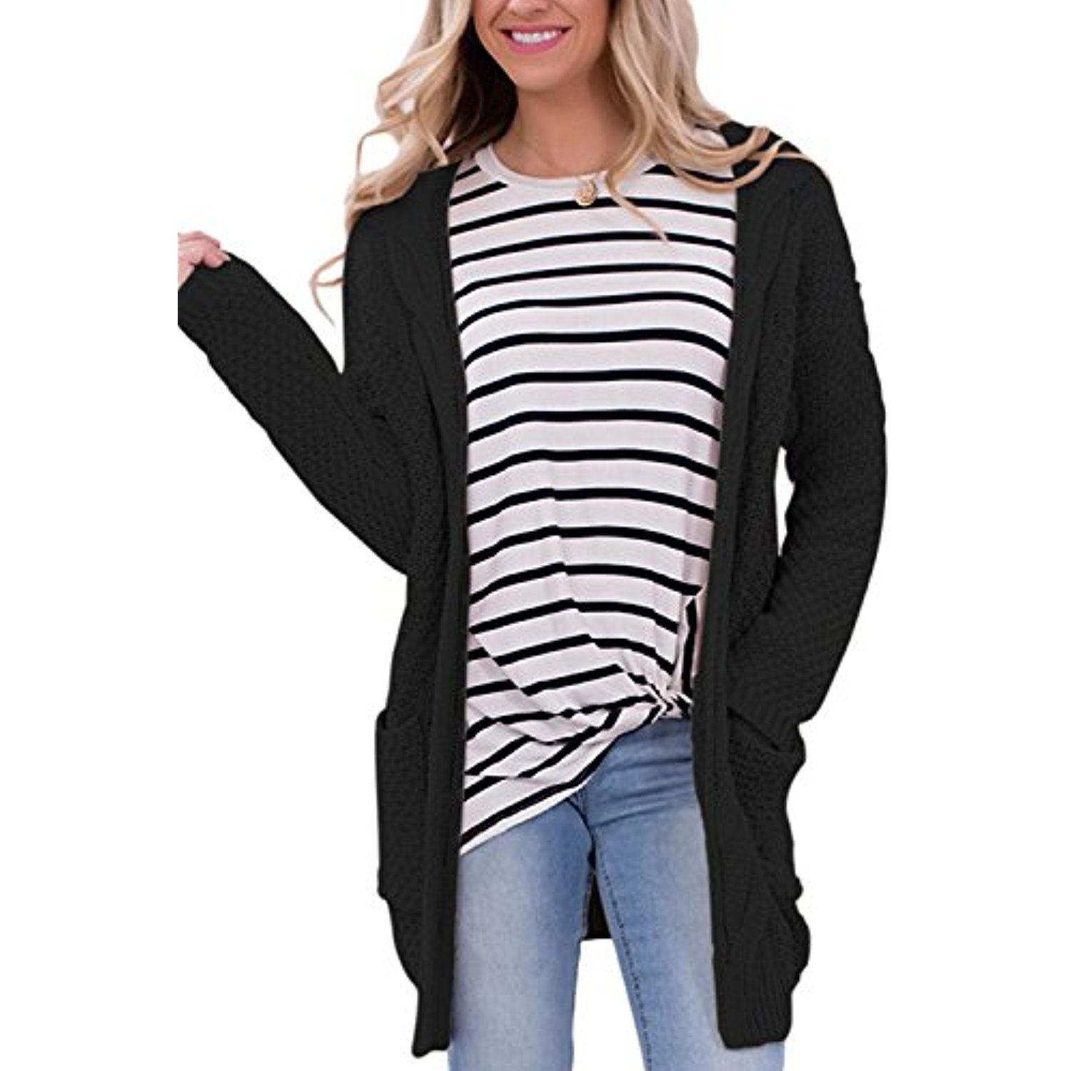 a1d0ad0d38 Women s Open Front Textured Two-Pocket Cardigan Sweater S-2XL   Want to know