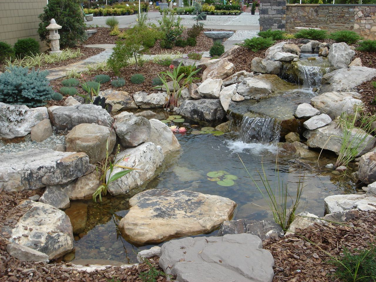 a small pond by a sidewalk built by living waterscapes in