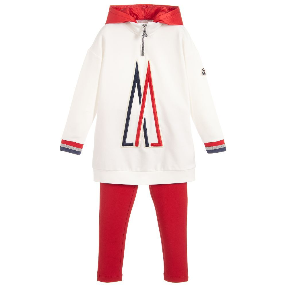 0f890cb2ba7d Girls red and ivory leggings and top by luxury brand Moncler