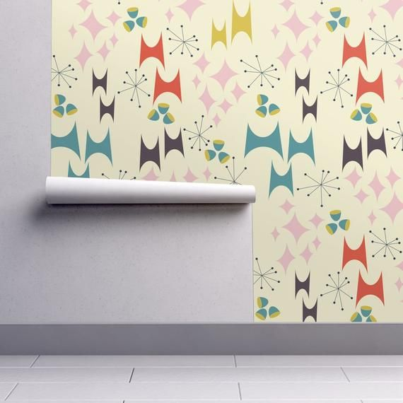 Mid Century Modern Wallpaper Deviled Starburst Ecru By