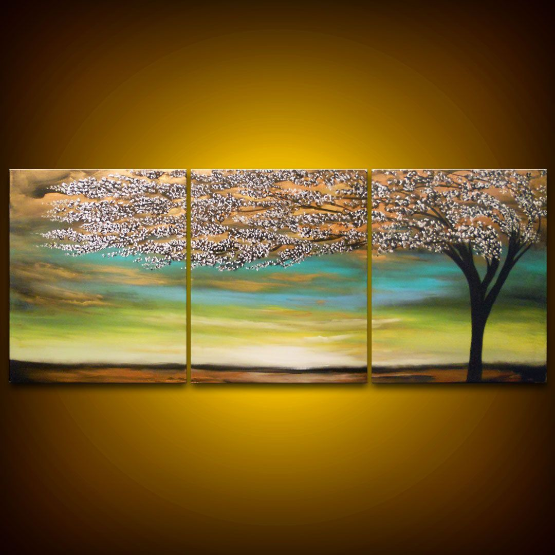 Tree painting cloud painting large landscape abstract 66 x 28 ...
