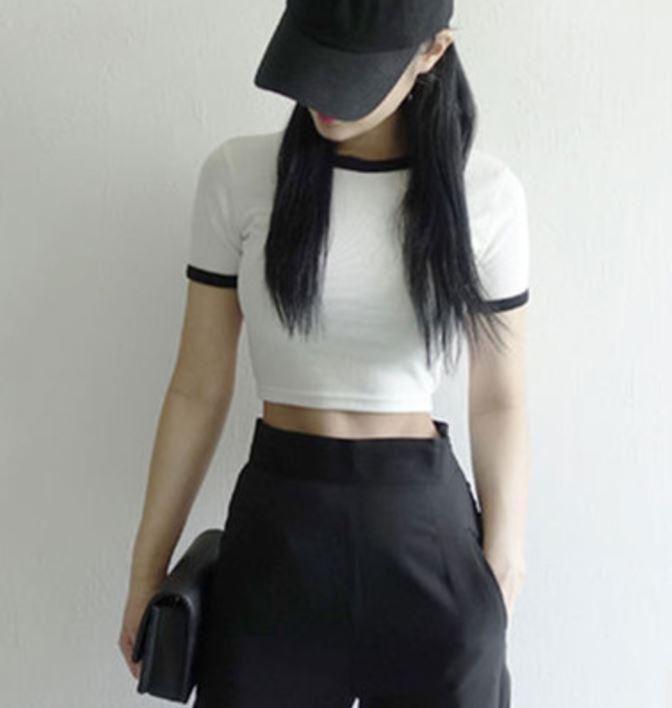 Itgirl Shop White Black Color Edge Cotton Crop Top Use Coupon Itpin
