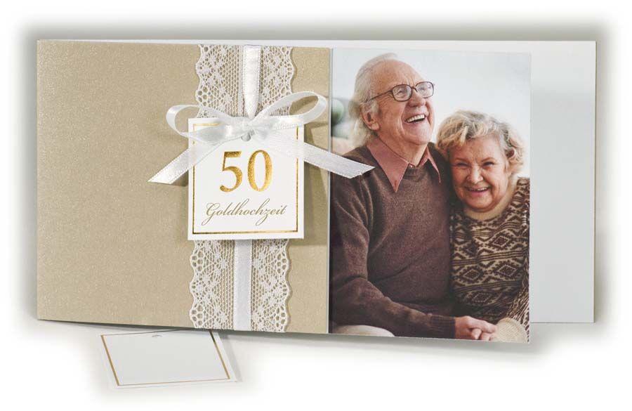 Einladungskarte zur Goldenen Hochzeit mit eigenem Foto und
