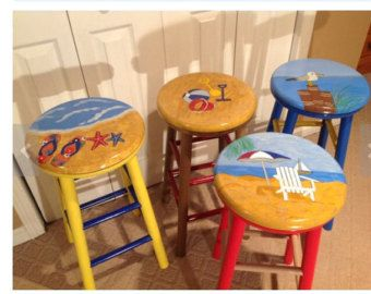 Whimsical Painted Furniture Painted Bar Stool Round Top Whimsical Painted Stool Hand Painted Home Decor Painted Bar Stools Whimsical Painted Furniture Hand Painted Chairs