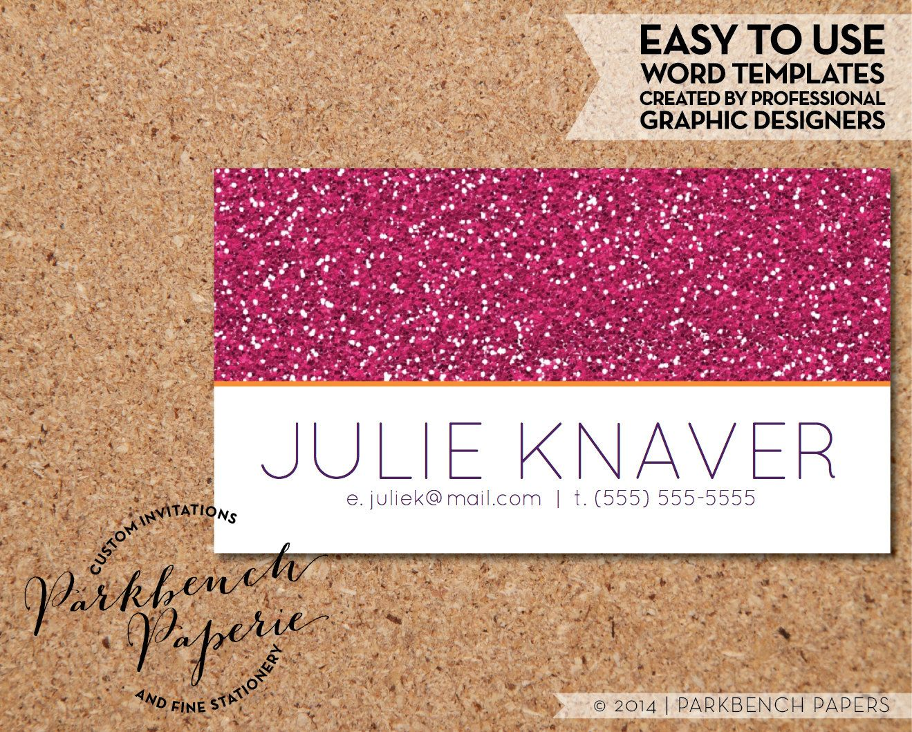 Business Card Template - Pink Glitter - DIY Editable Word Template ...