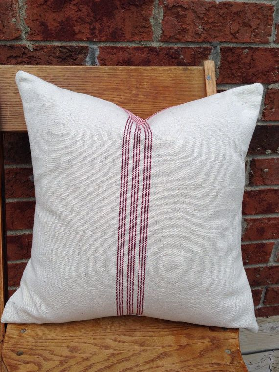 c8eae5d65e7f Grain Sack / Ticking Pillow Cover 9 Red Stripes | fabric of our ...
