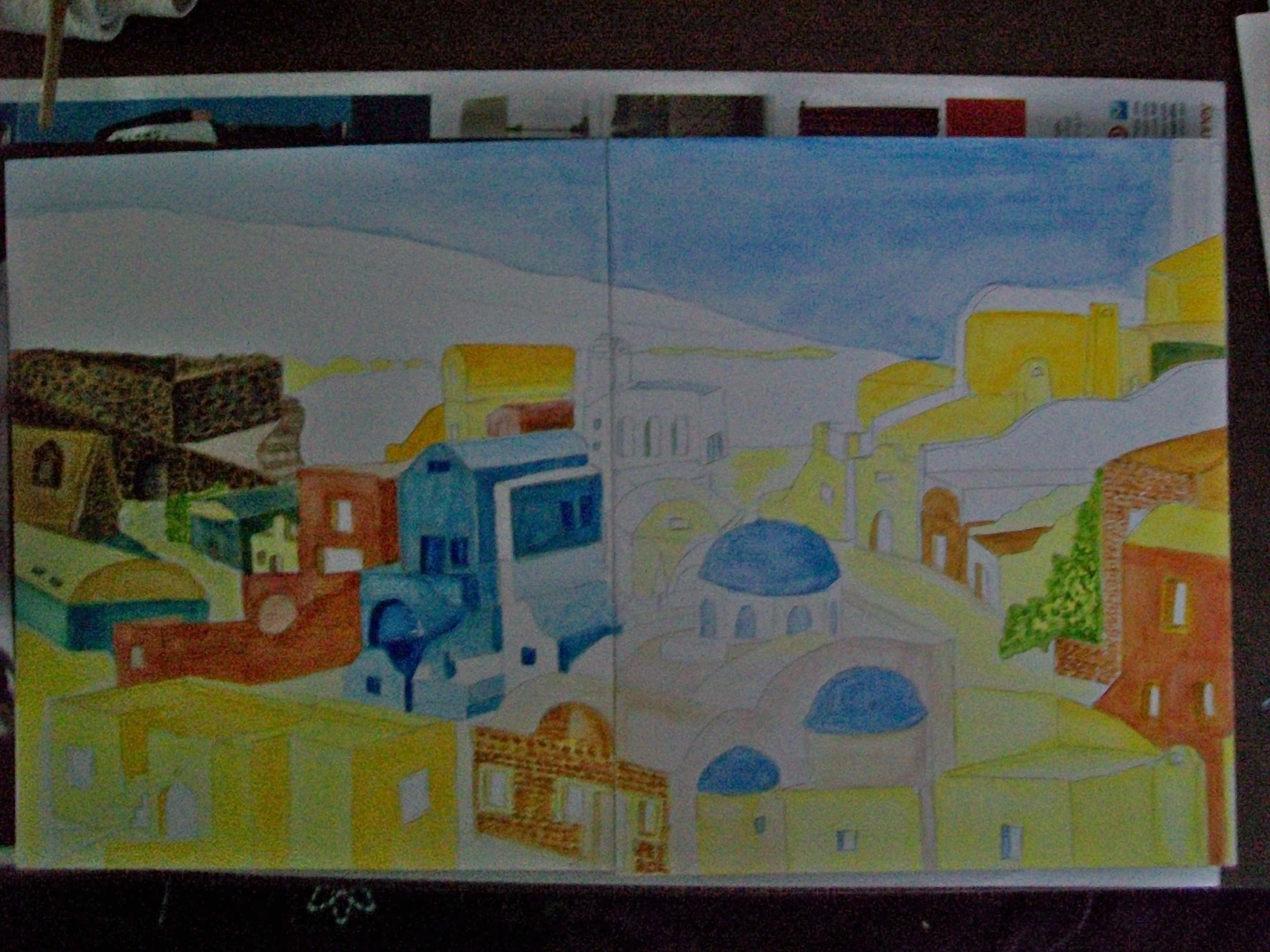 Here is one stage of development after hours of testing colors, washes to get desired hues.