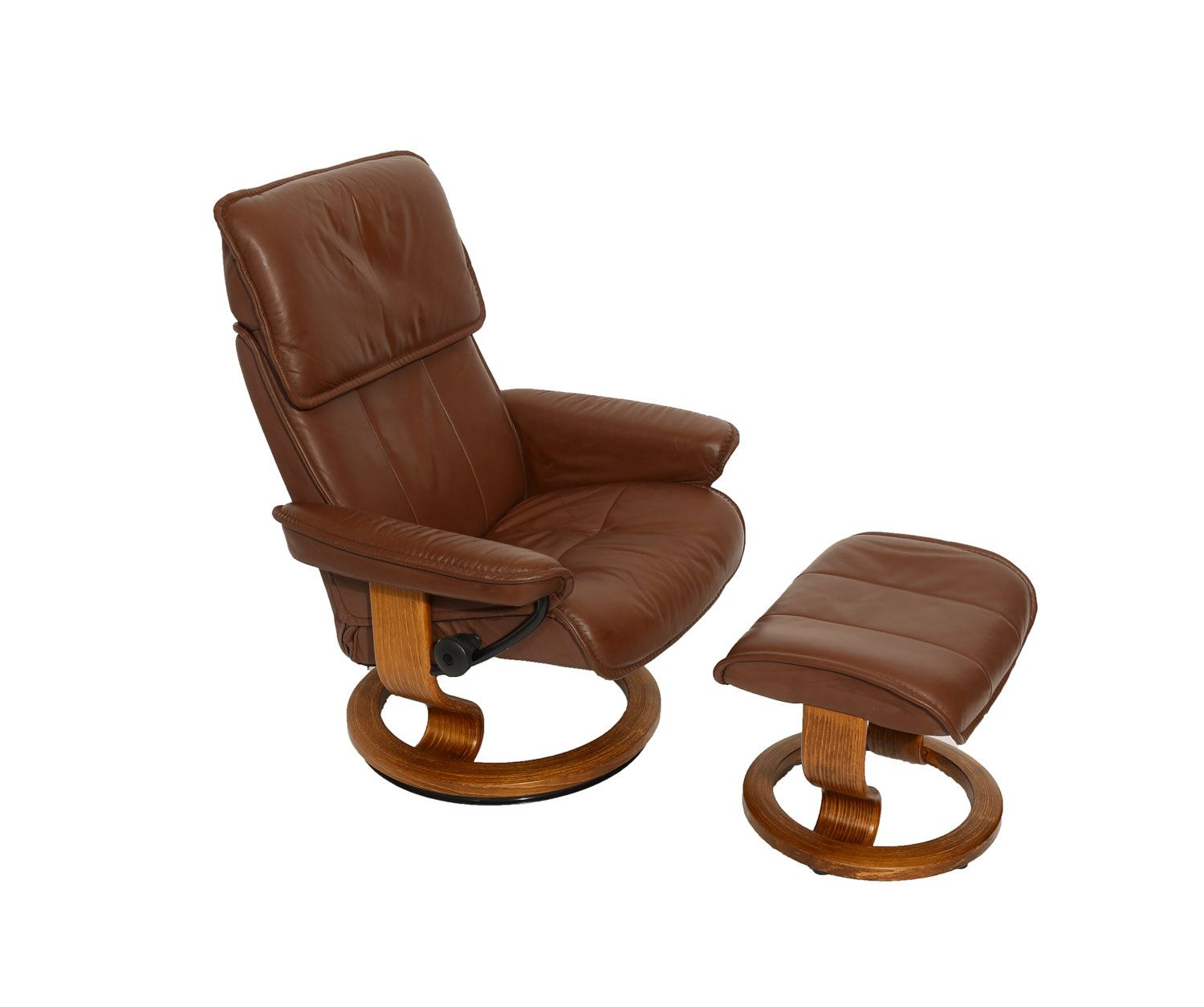 Leather Ekornes Stressless Reclining Chair & Ottoman Norway Mid Century Modern 70s by HearthsideHome on Etsy