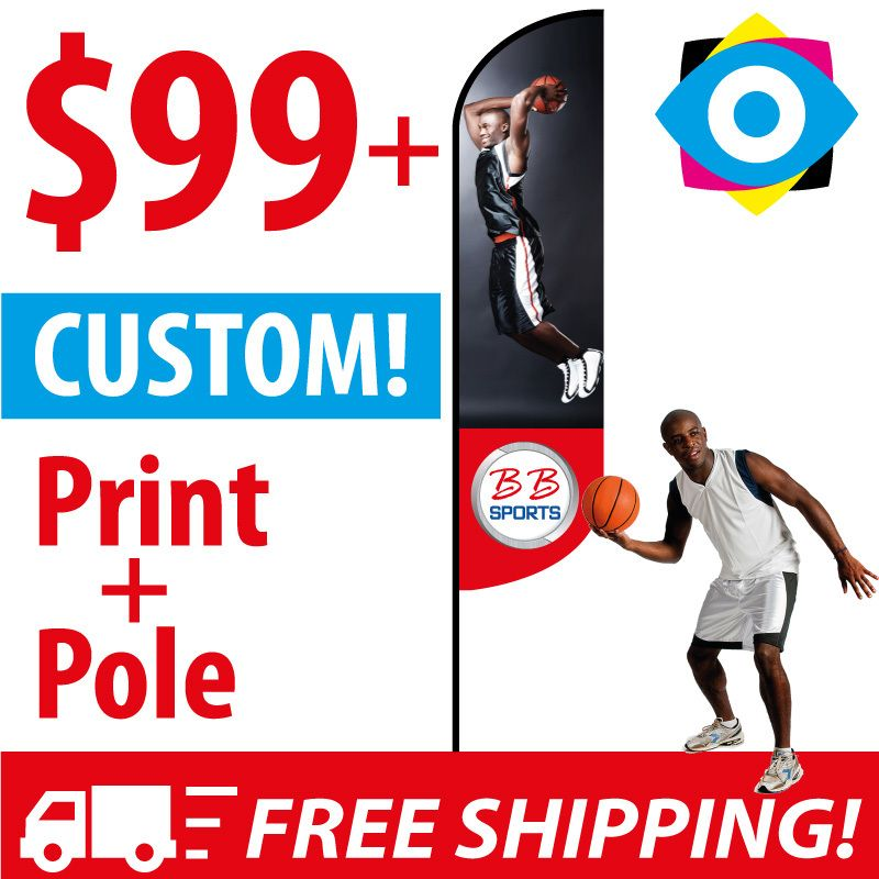 eyeBanner by ONE Group - CUSTOM! Feather Flags, $99.90 (http://www.retractable-banner-stands.com/feather-flags.html)