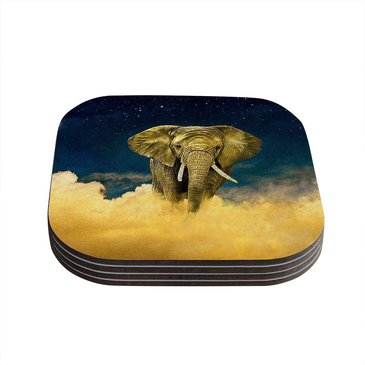 "Nick Atkinson ""Celestial Elephant"" Black Blue Coasters (Set of 4)"