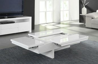 Table basse design relevable et transformable akila coloris blanc laqu ta - Table basse blanc laque design ...