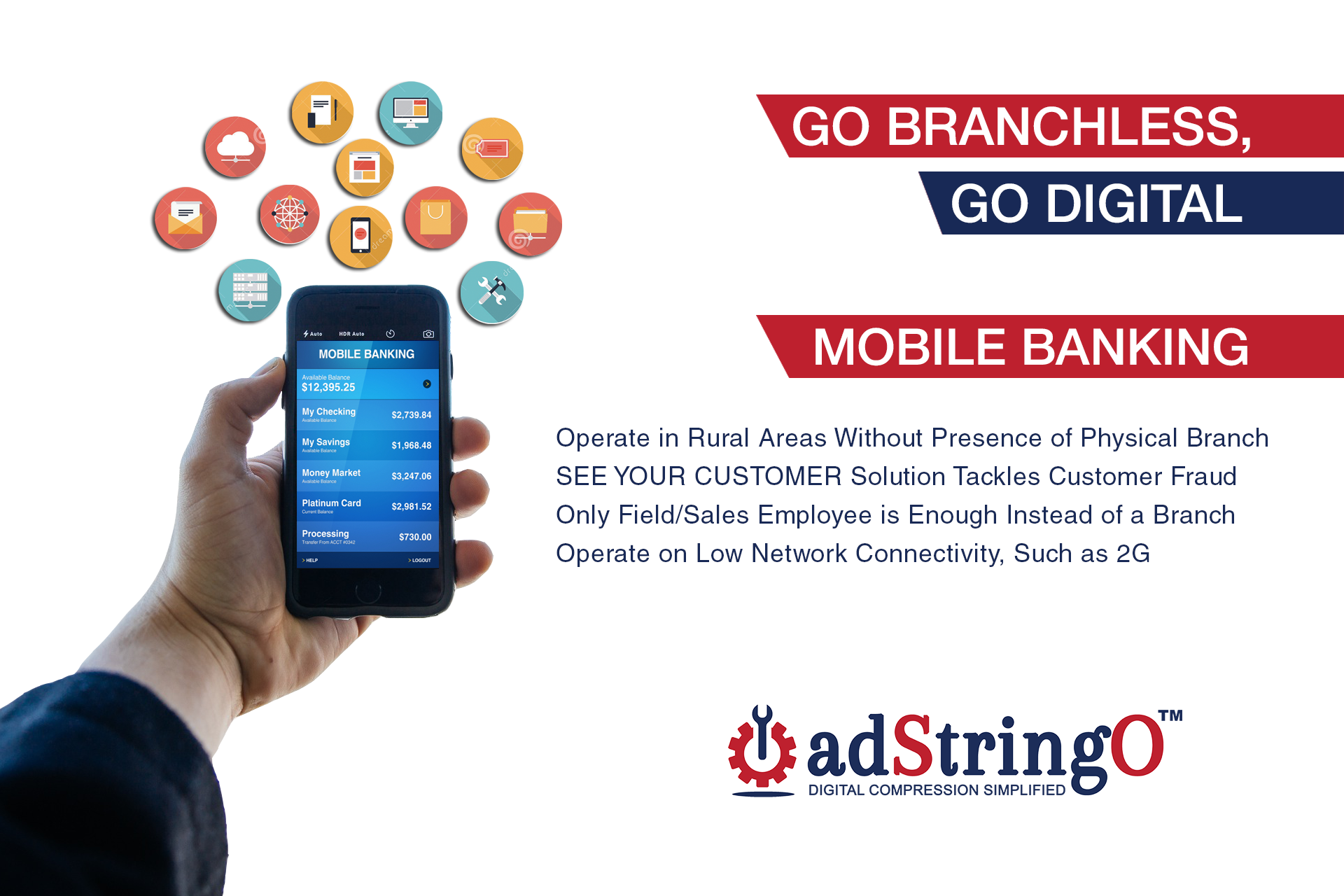 Digitization in banking is the future. Solutions powered by Adstringo Software Pvt. Ltd. help Banks, Insurance and Finance firms operate anywhere, servicing the customers better, always.  To know more catch us this November 12, 2016 at Sahara Star, Mumbai at BFSI Tech Maestros Awards Event. Visit - http://bit.ly/1IlclIl Visit - http://www.bfsimaestros.com/