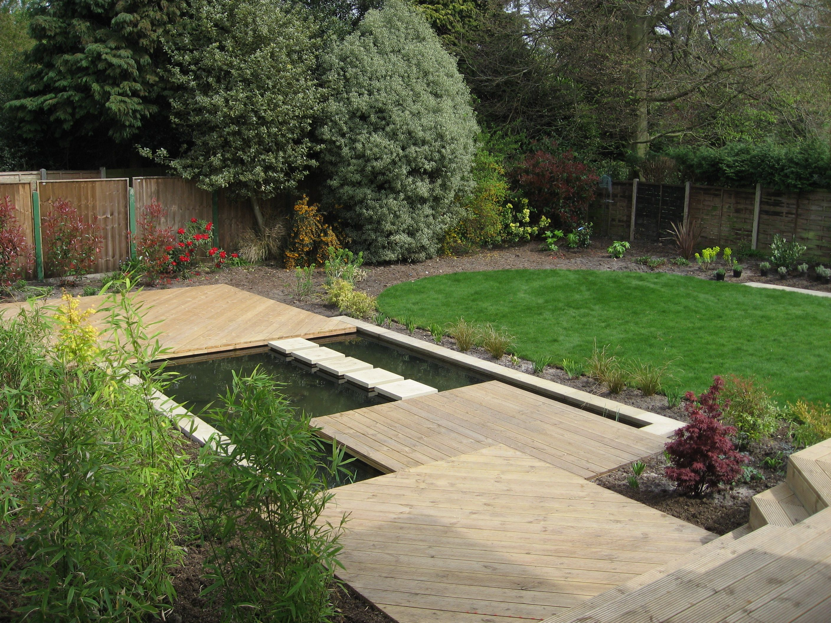 Sloping away from the house, in this small garden the ... on Sloping Gardens Design Ideas id=14646