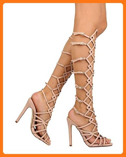 b0d99b19cb3d Vigo Fiore EI23 Women Leatherette Knee High Cut Out Stiletto Gladiator  Sandal - Nude (Size  6.5) ( Partner Link)