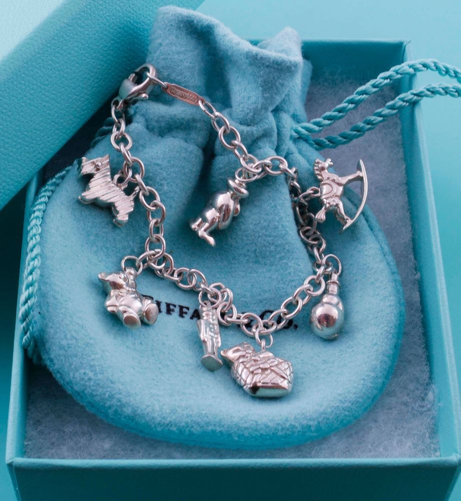 b891a7478 Rare, Magnificent Retired Tiffany & Co Silver Toy Christmas Charms Bracelet  #TiffanyCo