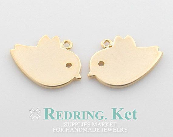 Bird Brass Pendant - Polished Gold Plated - 4Pcs, 1-0035G-MG on Etsy, £3.19