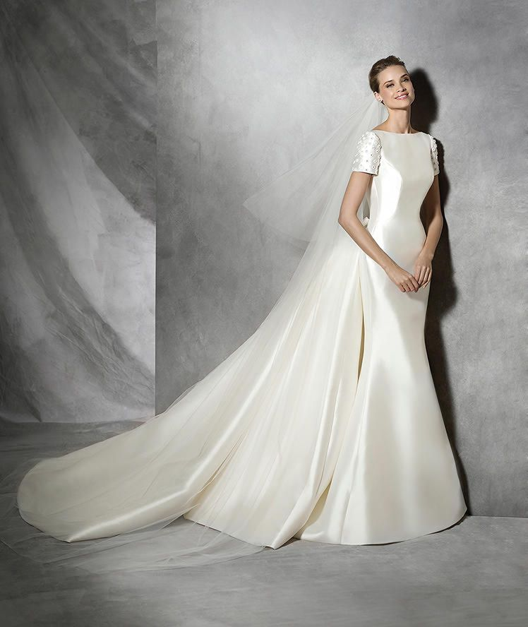 Vintage Wedding Dresses Philadelphia: TALIN - Vestido De Noiva Moderno De Manga Curta