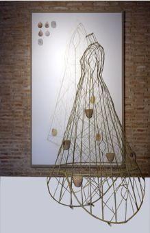 LAURA LIO   esculturas sculptures   Bambú y mimbre/ bamboo and wicker 214 x 69 x 112 cm. Lápiz y collage sobre papel encolado en tela, 255 X 152 cm. año 2006/7   Colección Museo Nacional Centro de Arte Reina Sofía