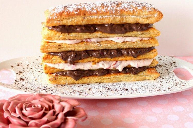 Chocolate Cherry Cream Pastry Tower