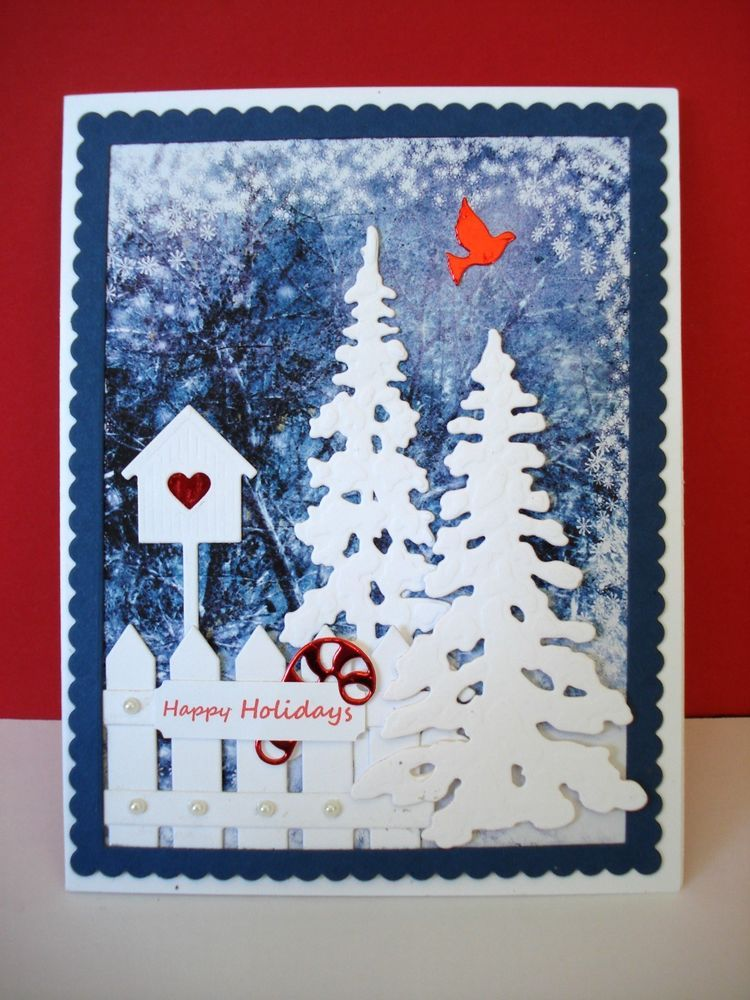 handmade christmas card kit 5 die cuts red mirror elements scallop