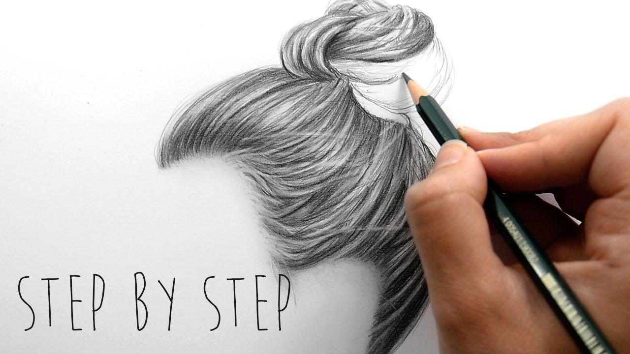 Draw With Me How To Draw Shade Realistic Hair Bun With Pencils Step By Haare Zeichnen Lippen Zeichnen Haarzeichnung