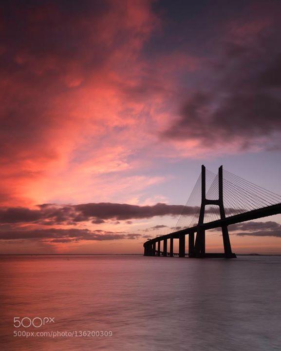 The Vasco da Gama Bridge goes P!nK http://ift.tt/1PwaAJe riverBlue hourBridgeLisboaLisbonLong ExposureMagicalPonteSunriseTajoTejoVasco da Gamacitycloudslightreflectionseaskytravelwater