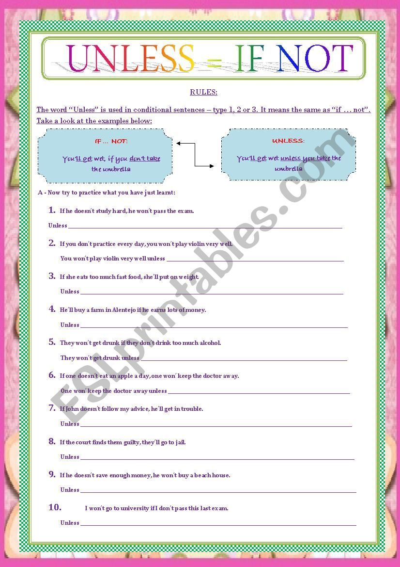 A Simple Ws About If Not Vs Unless Conditionals Rephrasing Linking Words Grammar Worksheets English Lessons