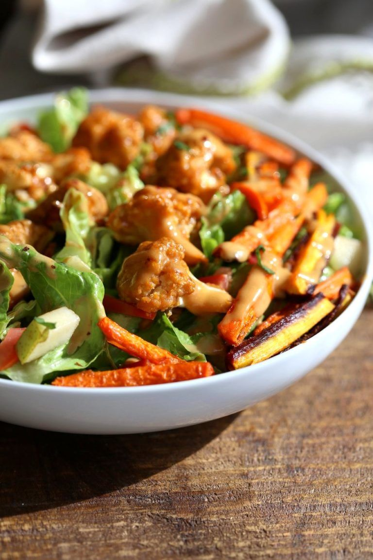 Peanut Butter Roasted Cauliflower And Carrot Salad Bowl