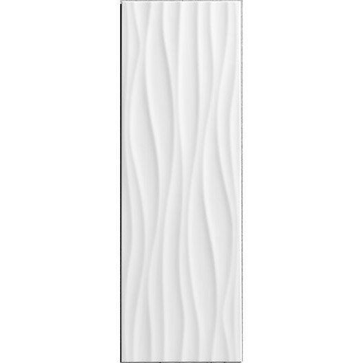 Fa ence mur blanc mat d cor relief wave x cm for Carrelage faience blanc