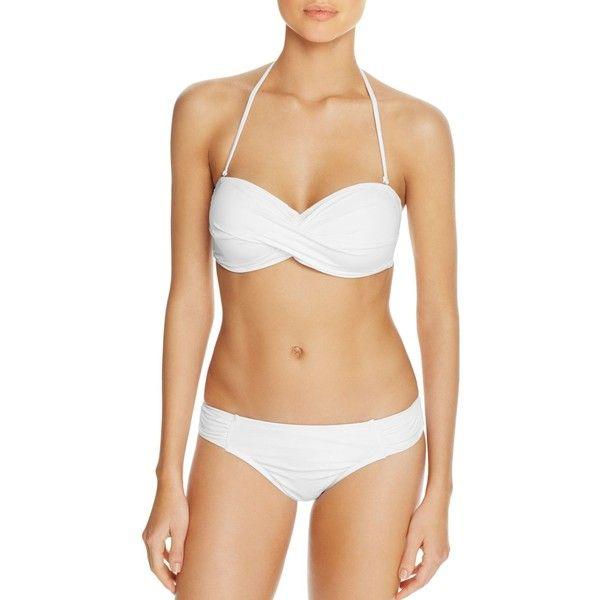 Tommy Bahama Pearl Twist Bandeau Bikini Top ($39) ❤ liked on Polyvore featuring swimwear, bikinis, bikini tops, white, twist bikini, twisted bandeau bikini top, tommy bahama bikini top, bandeau bikini tops and white bikini top