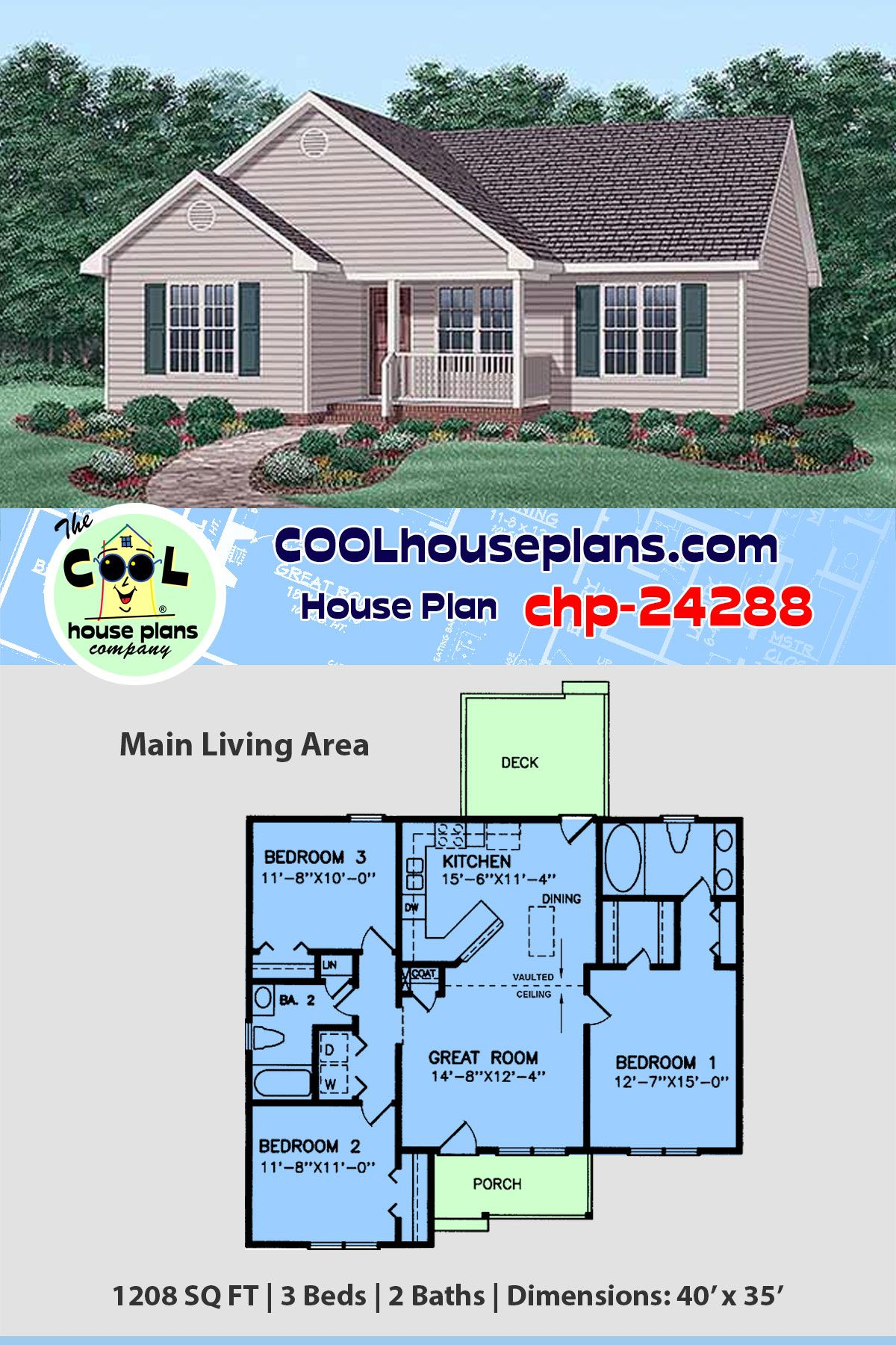 1208 Sq Ft Small Home Plan Chp 24288 At Cool House Plans 3 Beds 2 Baths Affordable Floor Plans House Plans Affordable Floor Plans Best House Plans