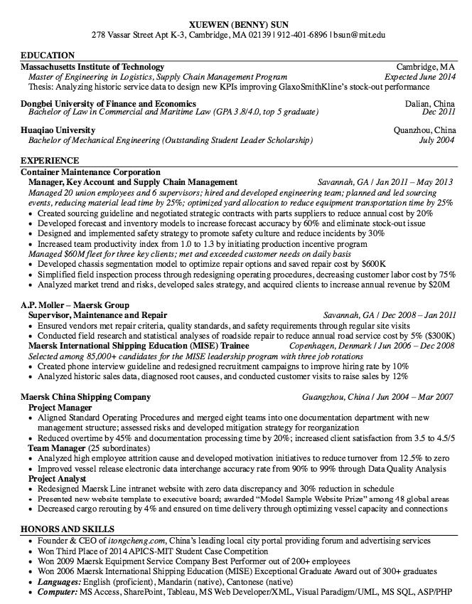 Maersk International Resume Sample http//resumesdesign