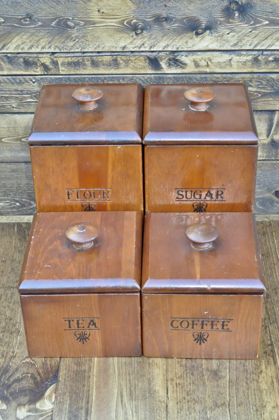 Wooden Canister Four Piece Set    Flour, Coffee, Tea, Sugar    Vintage  Kitchen    Farmhouse, Rustic