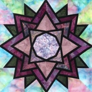 Stained Glass Waterlily Quilt Block Pattern